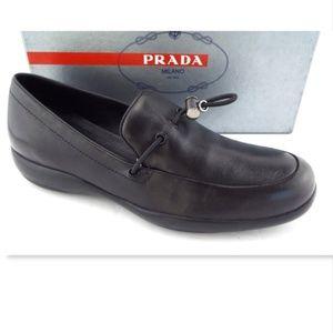 PRADA Black Soft Leather Slip-On Loafers Flats 39
